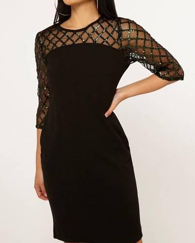 Čierne puzdrové šaty s flitrami Dorothy Perkins Petite