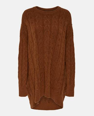 Hnedý sveter s prímesou vlny ONLY Dora