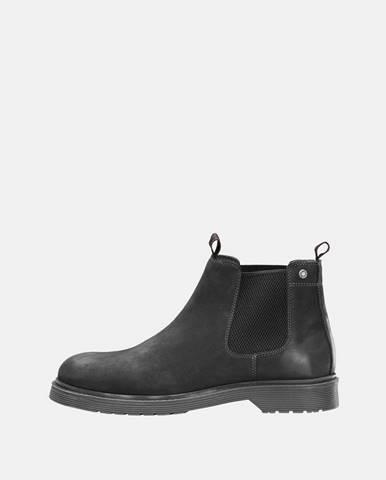 Čierne pánske kožené chelsea topánky Jack & Jones Leyton