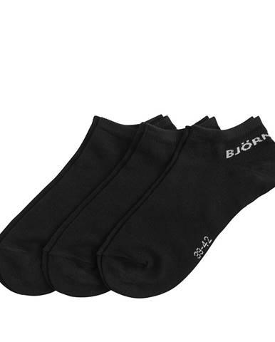 BJÖRN BORG - 3PACK čierne bavlnené členkové ponožky-39-42