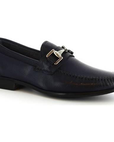 Mokasíny Leonardo Shoes  8767E19 TOM AL.CE BLU