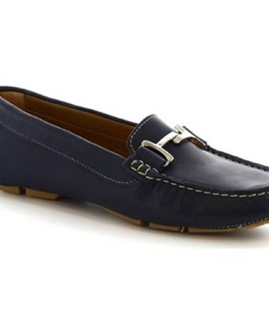 Mokasíny Leonardo Shoes  227 VITELLO BLEU