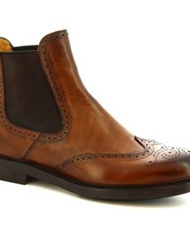 Polokozačky Leonardo Shoes  9015/19 CAPRI AV BRANDI