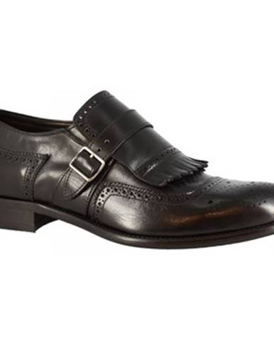 Mokasíny Leonardo Shoes  7569 MOTENTECARLO NERO