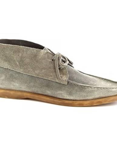 Polokozačky Leonardo Shoes  M402-01 VELOUR PIOMBO575