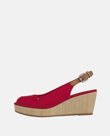 Červené sandálky na plnom podpätku Tommy Hilfiger