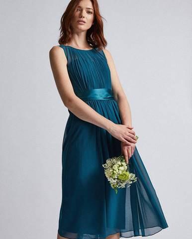 Petrolejové šaty so zaväzovaním Dorothy Perkins