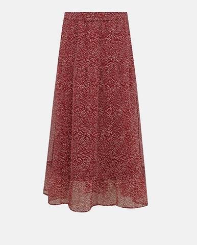 Vínovo-čierna vzorovaná maxi sukňa VERO MODA Kay
