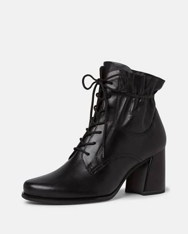Čierne dámske kožené členkové topánky Tamaris