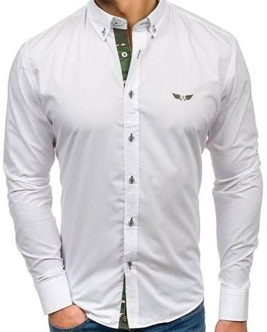 Maskáčovo-biela pánska elegantná košeľa s dlhými rukávmi