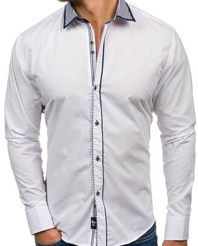 Biela pánska elegantná košeľa s dlhými rukávmi