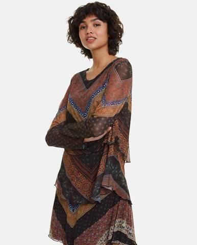 Hnedé vzorované šaty Desigual Ocrida