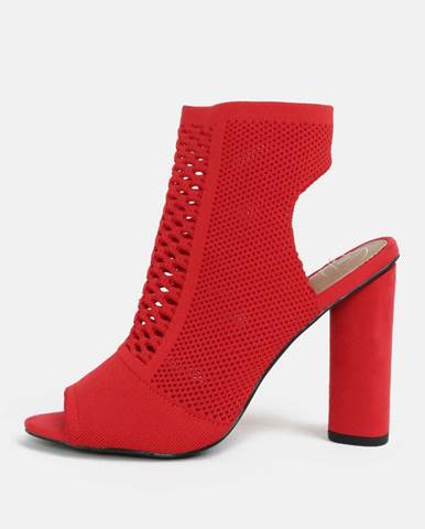 Červené sandálky na širokom podpätku MISSGUIDED