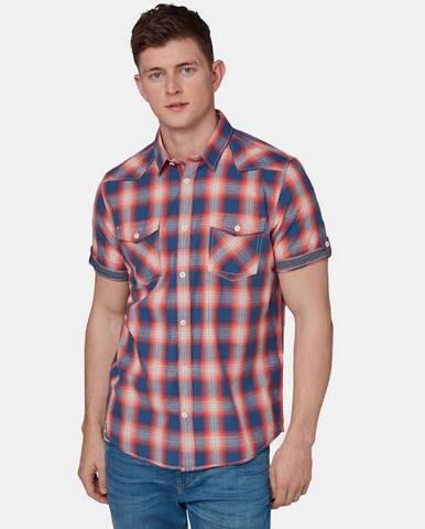 Červená pánska kockovaná regular fit košeľa Tom Tailor
