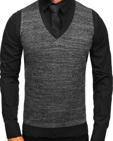 Čierna pánska pletená vesta
