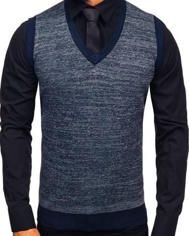 Tmavomodrá pánska pletená vesta