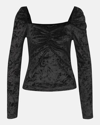 Čierne sametové tričko Dorothy Perkins