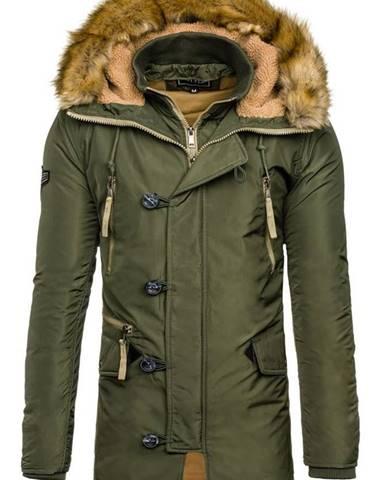 Zelená pánska zimná bunda parka