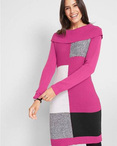 Pletené šaty s dlhým rukávom