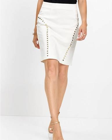 Džínsová sukňa s nitmi