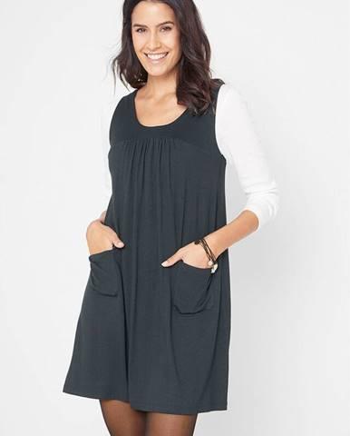 Džersejové šaty s vreckami, jednofarebné