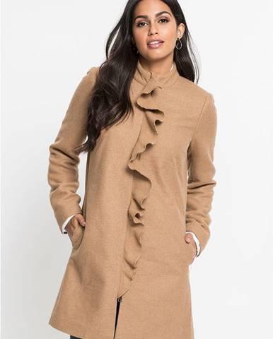 Vlnený kabát s volánmi