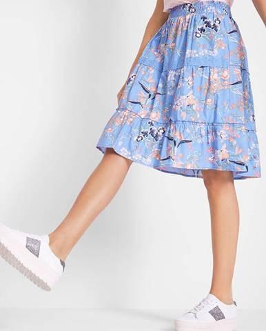 Potlačená volánová sukňa z bavlny, s elastickým pásom