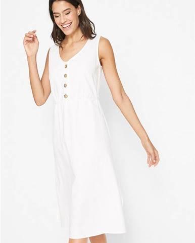 Plátené šaty s gombičkovou légou