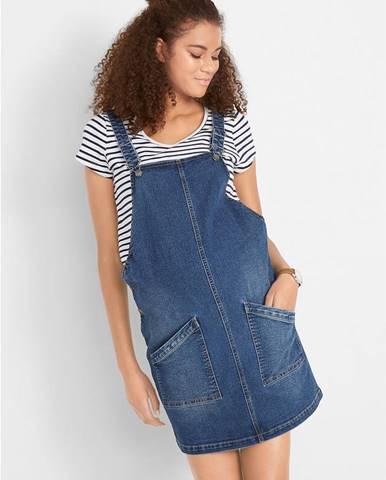 Tehotenské džínsové šaty na traky