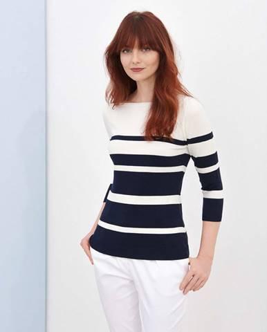 Dámsky pruhovaný sveter  biela