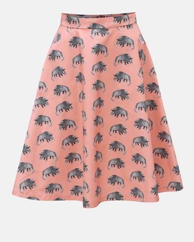 Sivo–ružová sukňa s motívom pásavca annanemone