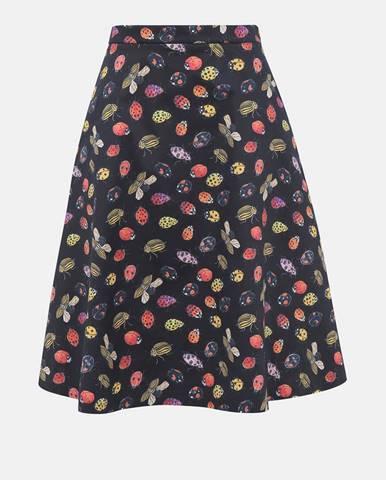 Tmavomodrá sukňa s motívom lienok a mandelínok annanemone