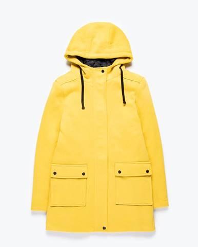 Kabát s kapucňou s ozdobnou páskou s nápisom
