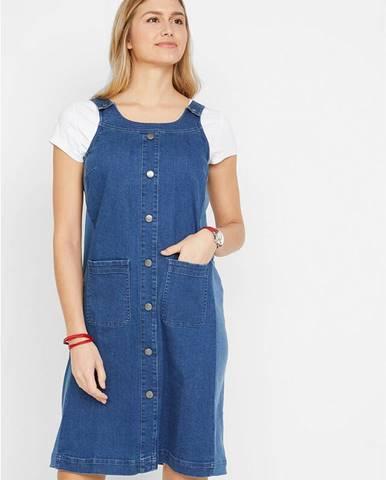 Džínsové šaty s trakmi a gombíkovou légou