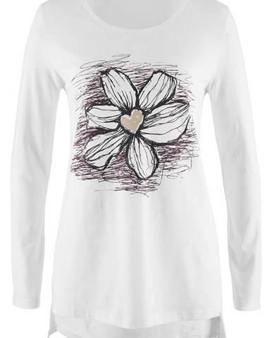 Tričko s kvetovanou potlačou, dlhý rukáv