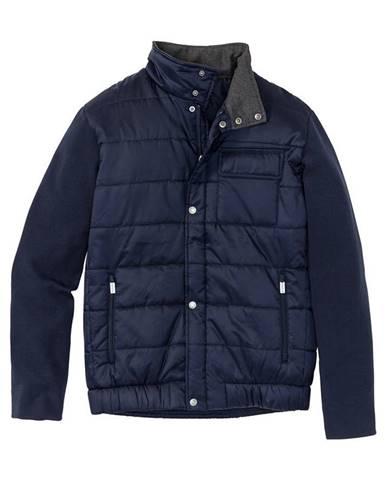 Prešívaná bunda s rukávmi v pletenom vzhľade