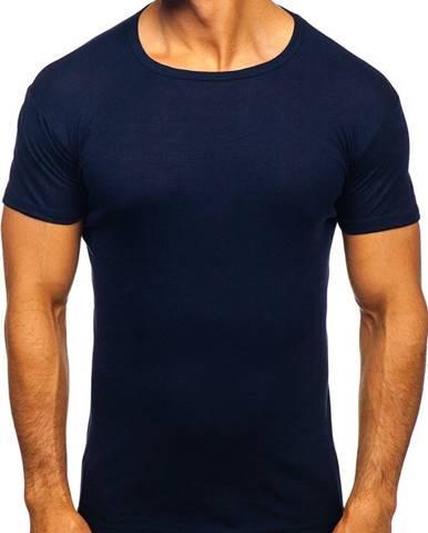Tmavomodré pánske tričko bez potlače