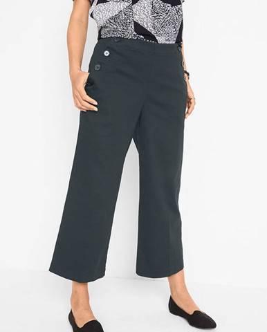 Široké skrátené nohavice s gombičkovými detailmi