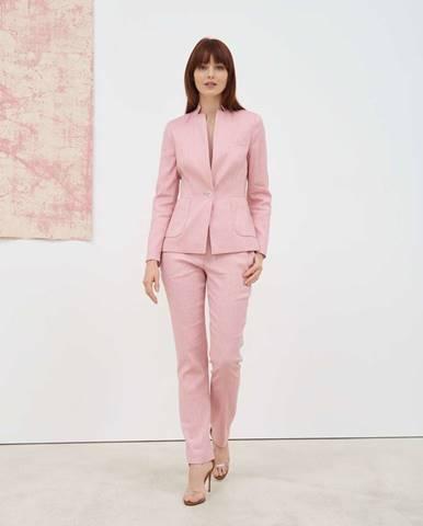 Dámske svetloružové sako s podielom ľanu  růžová
