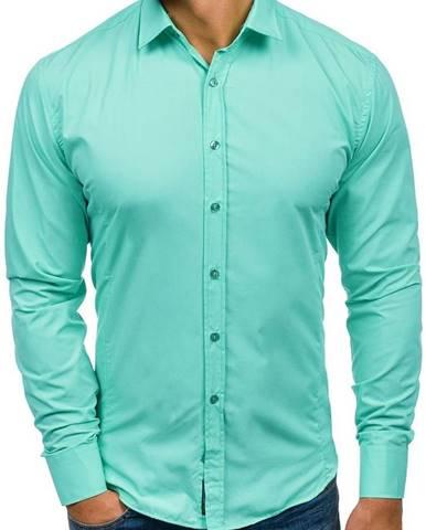Svetlozelená pánska elegantná košeľa s dlhými rukávmi