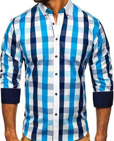 Tyrkysová pánska károvaná košeľa s dlhými rukávmi