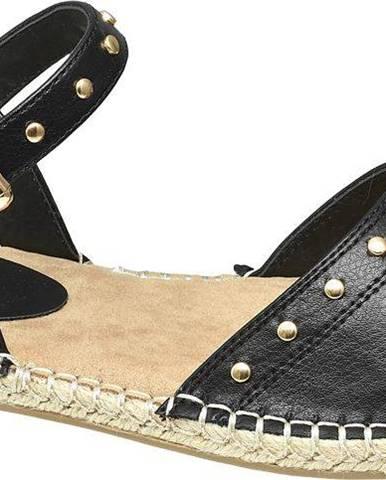 Graceland - Čierne sandále so zlatými cvočkami