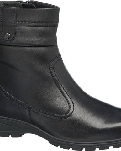 Medicus - Čierne kožené komfortné členkové čižmy Medicus