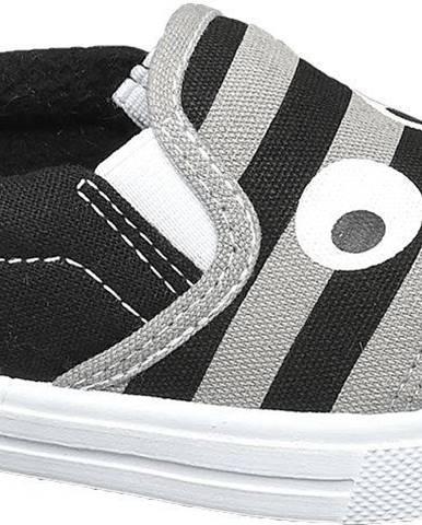 Bobbi-Shoes - Sivo-čierne slip-on plátenky Bobbi Shoes