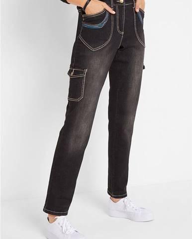 Džínsy s kapsáčami, s výšivkou, rovné