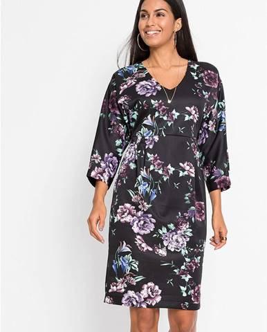 Strečové šaty, s potlačou, kimonové rukávy