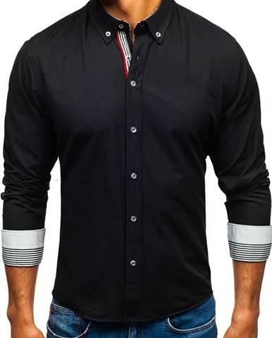 Čierna pánska vzorovaná košeľa s dlhými rukávmi