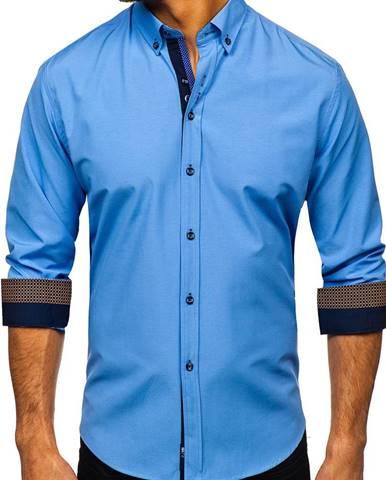 Blankytná pánska elegantná košeľa s dlhými rukávmi