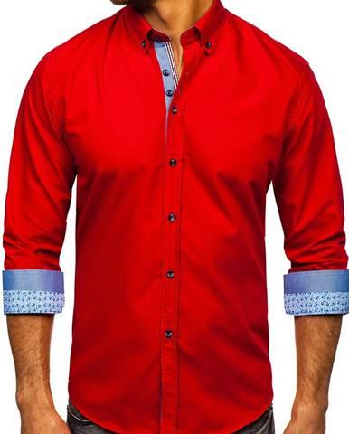 Červená pánska elegantná košeľa s dlhými rukávmi