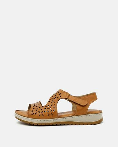Hnedé dámske kožené sandále WILD